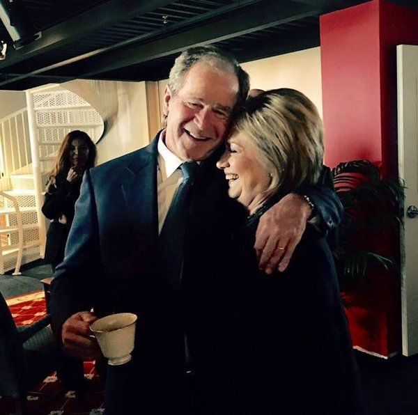 George W. Bush and Hillary Clinton at Nancy Reagan Funeral 3-13-2016 CNN Photo via Twitter