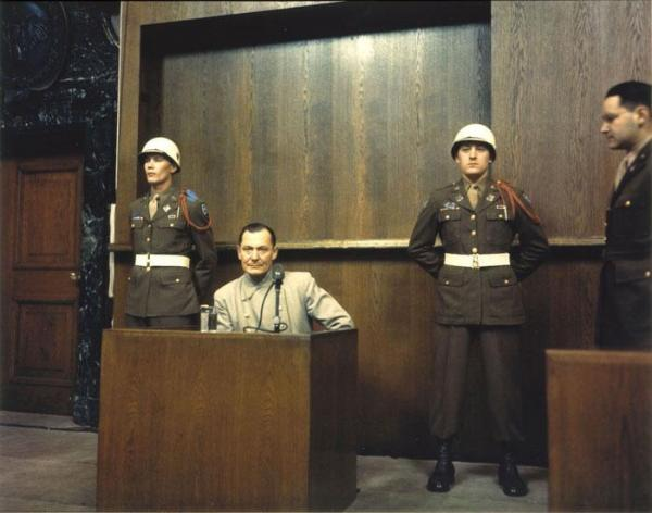 Hermann Goering on trial, 1946, U.S. military