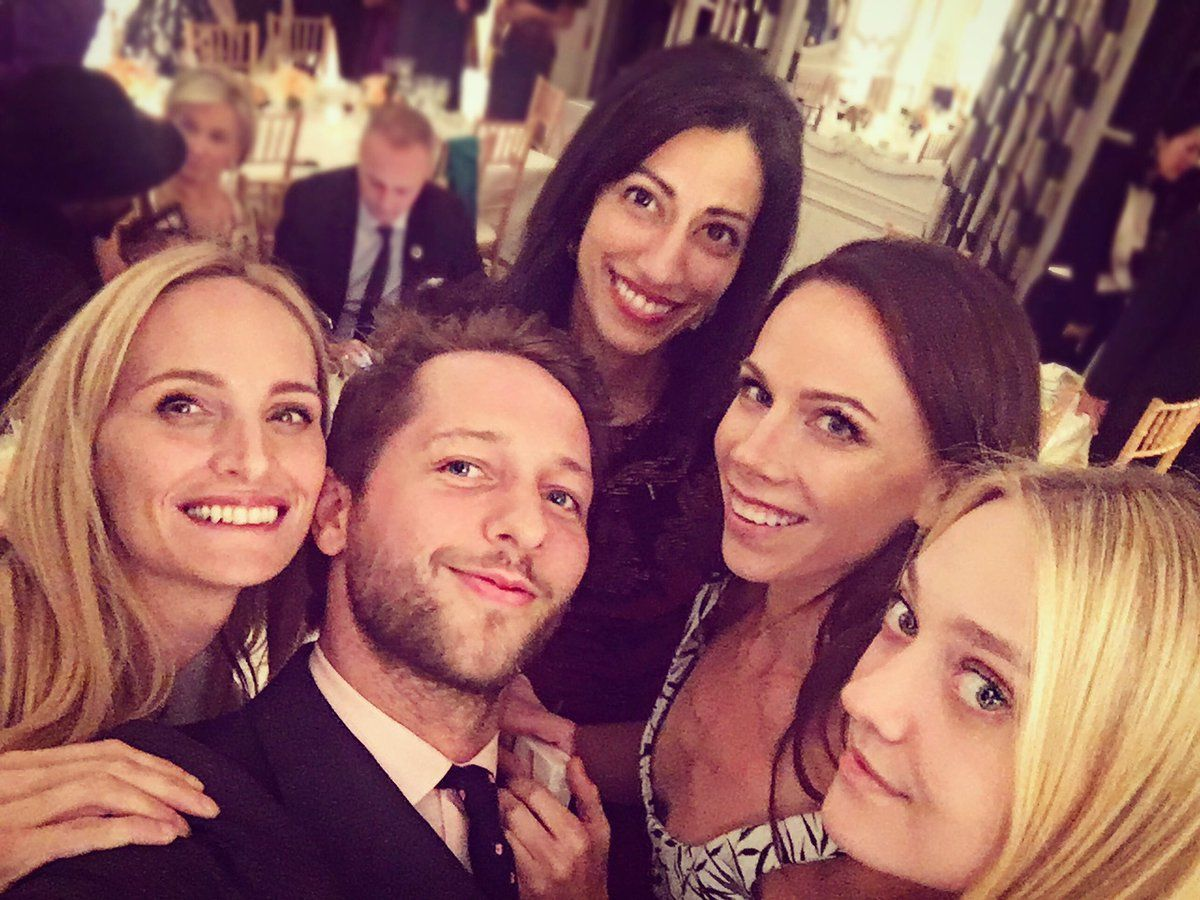 Huma Abedin (center rear), Barbara Bush (right center), Dakota Fanning and friends in Paris, Oct. 1, 2016
