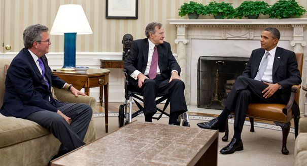 Jeb Bush, George H.W. Bush, Barack Obama at White House
