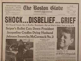 JFK Boston Globe Headlnies
