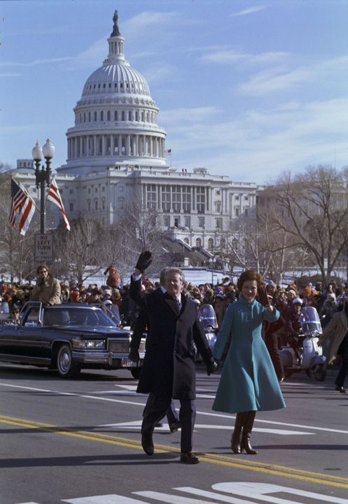 Jimmy Carter and Roselyn Carter at 1977 Inaugural (Carter Center)