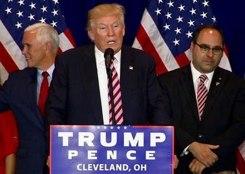 George Gigicos on the camapign trail in 2016 with GOP nominee Donald Trump and running mate Mike  Pence