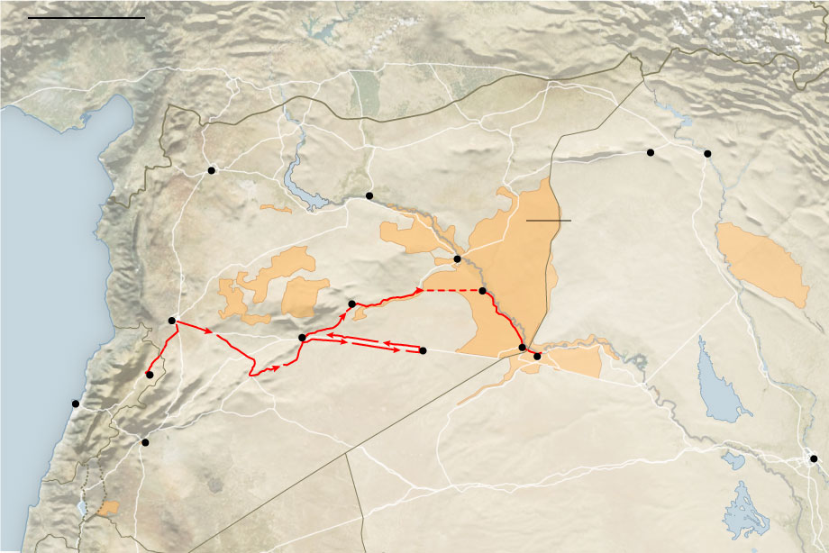 syria isis convoy route nytimes 9 11 17