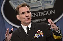 John Kirby shown in file photo from his post as Pentagon spokesman