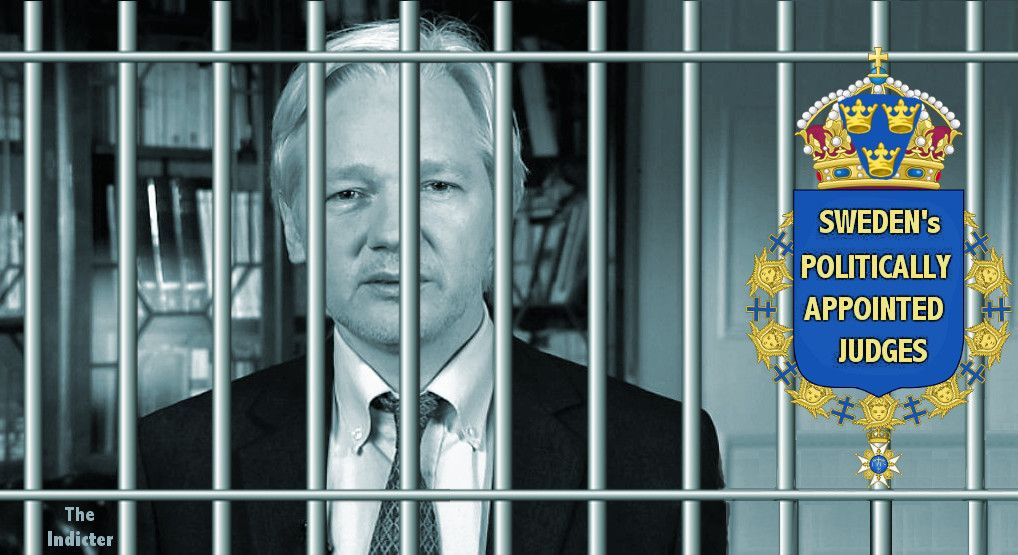 Julian Assange in graphic by The Indicter
