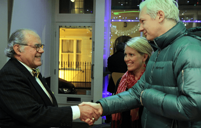 Julian Assange, Marcello Ferrada de Noli and Jennifer Robinson, London 2011