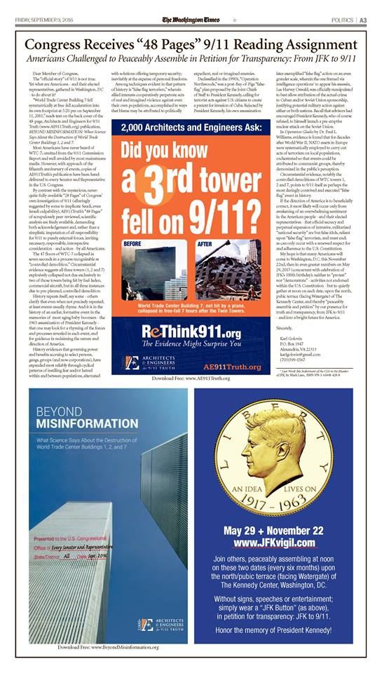 Washington Times ad on 9/11 by Karl Golovin