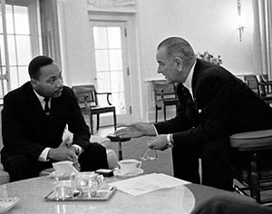 Dr. Martin Luther King Jr. meets President Lyndon B. Johnson