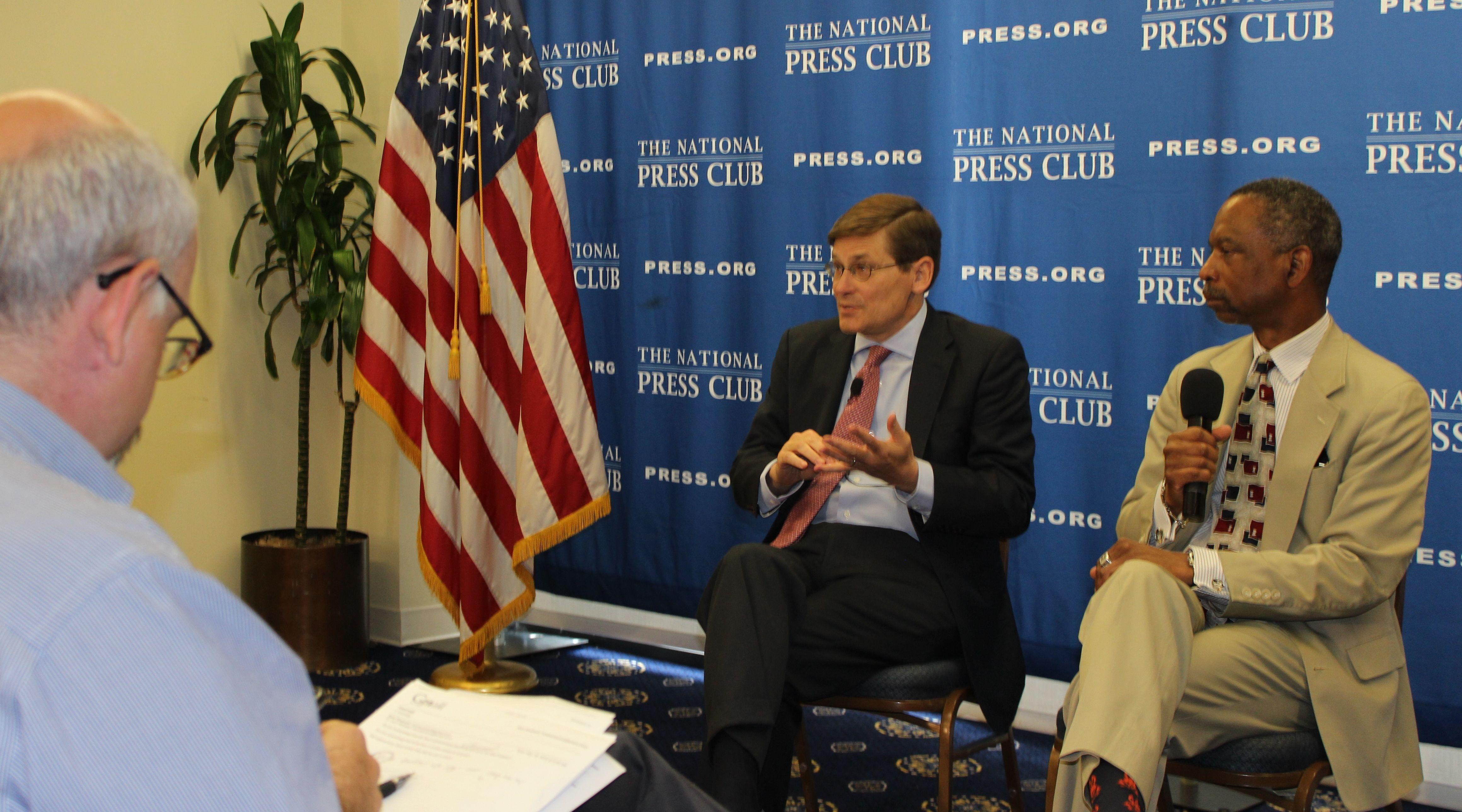 Michael Morell, Keith Hill and Sam Husseini, May 11, 2015 JIP photo
