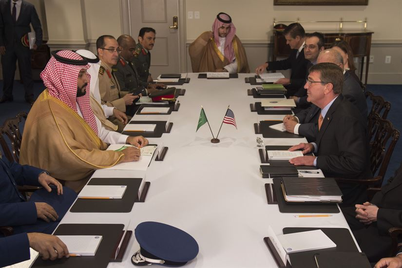 Mohammed bin Salman and Ashton Carter in DoD meeting, June 16, 2016