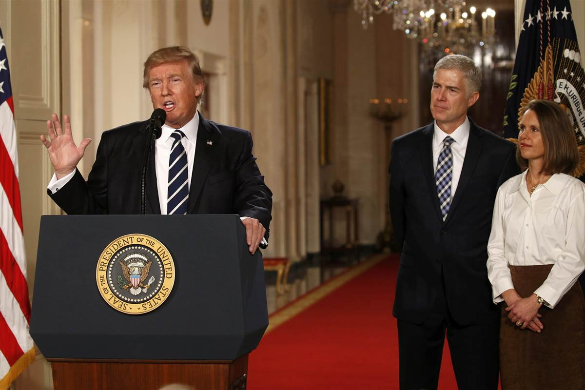 President Trump, Judge Neil Gorsuch, wife Louise Gorsuch (NBC News)