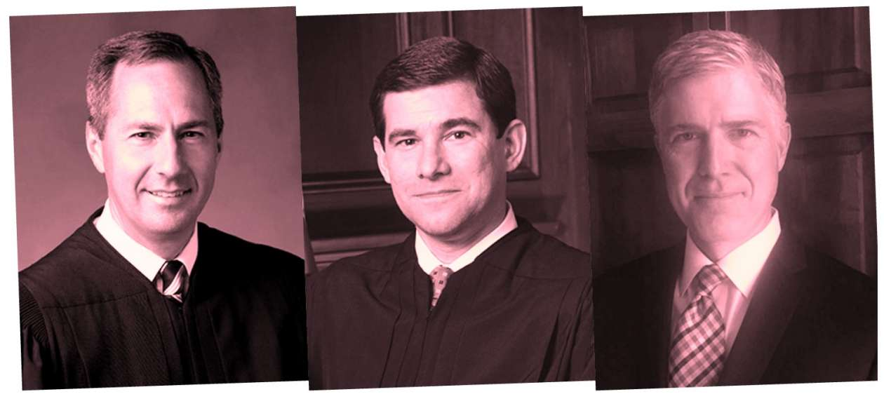 Judges Neil Gorsuch, William Pryor and Thomas Hardiman (left to right)