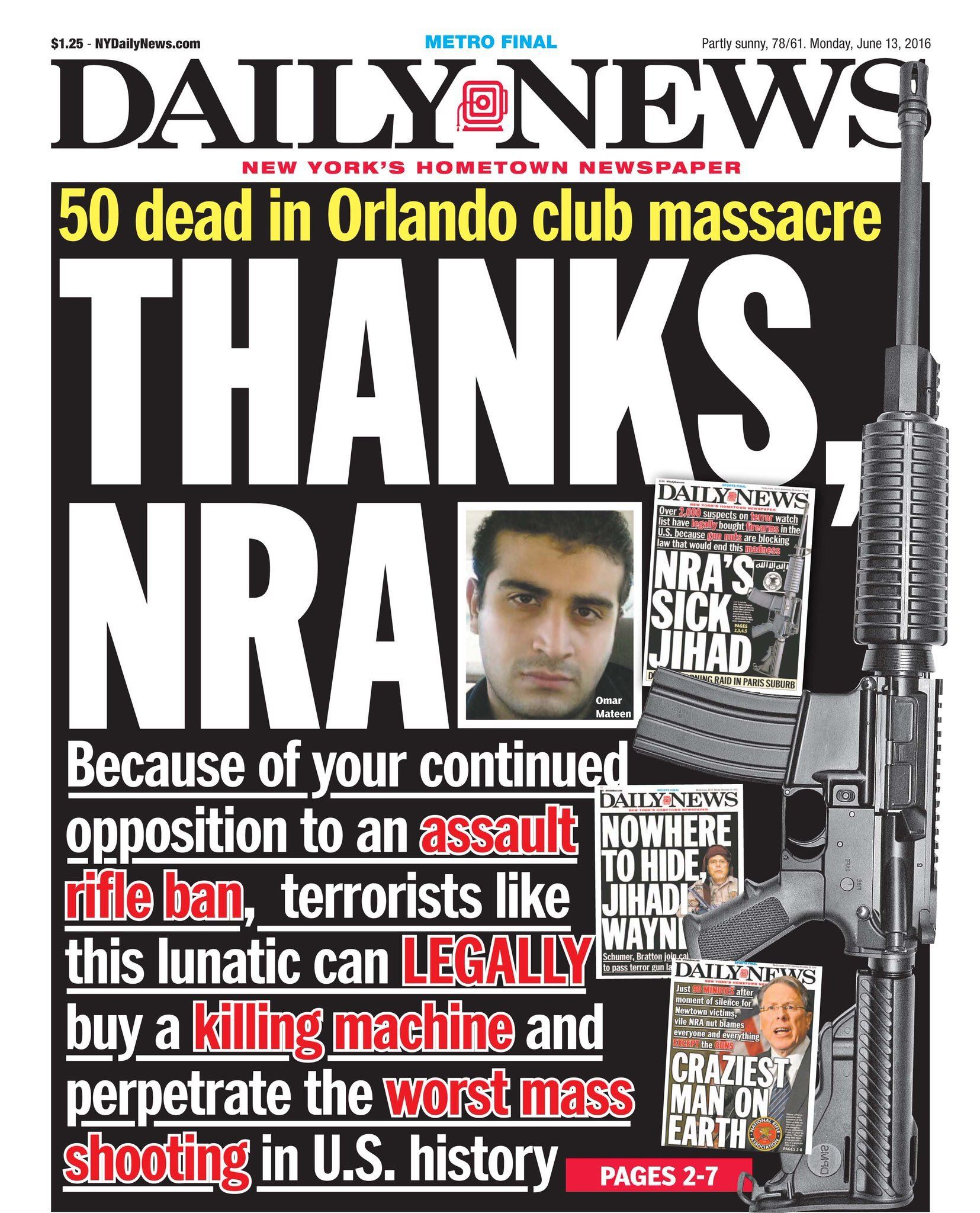 New York Daily News NRA Headline on Orlando Shooting June 2016