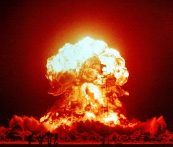 Nuclear Explosion at Nevada test site in 1953 (U.S. government photo)