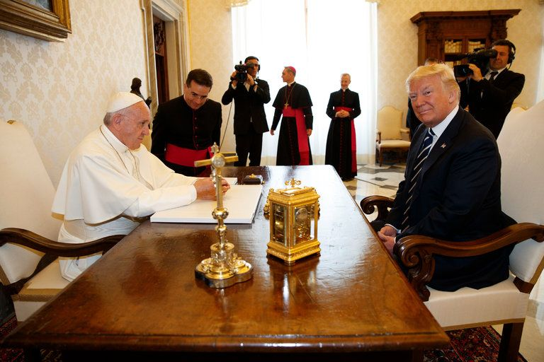 Pope Francis and President Trump on May 24, 2017 (Pool photo by Evan Vucci)