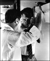 Robert F. Kennedy with Frank Mankiewicz after King Assassination in 1968