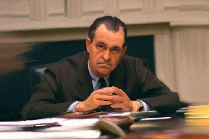 CIA Director Richard Helms is shown at a White House meeting.