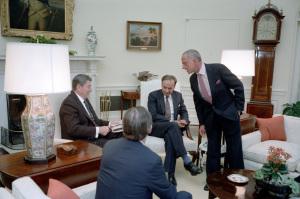 Ronald Reagan, Rupert Murdoch, Charles Wick, Roy Cohn 1983