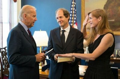 Vice President Biden (left) swears UN Ambassador Samantha Power into office as husband Cass Sunstein (center) looks on (2013 White House photo), From ImagesAttr