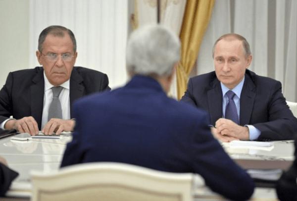 Sergei Lavrov, John Kerry, Vladimir Putin 12-16-2015