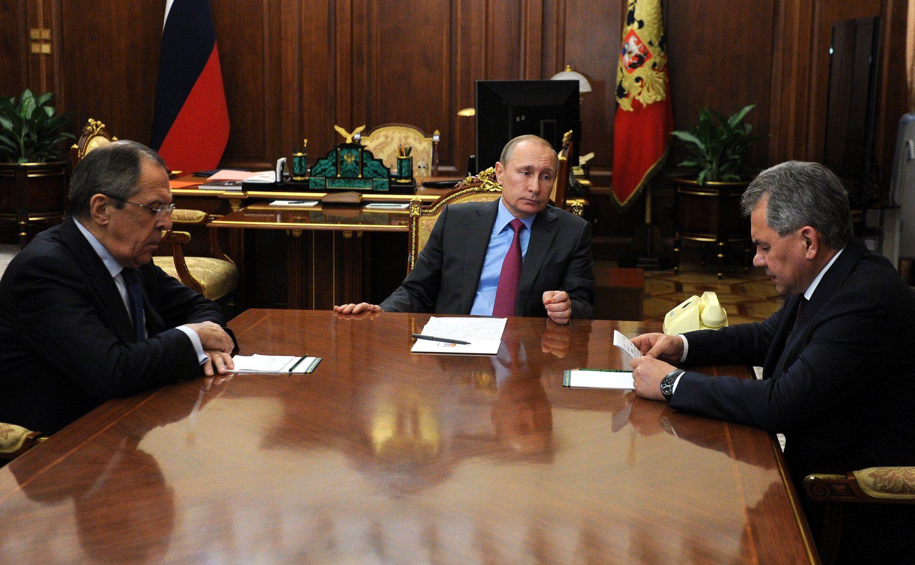 Sergei Lavrov, Vladimir Putin, Sergei Shoigu, Moscow, March 14, 2016