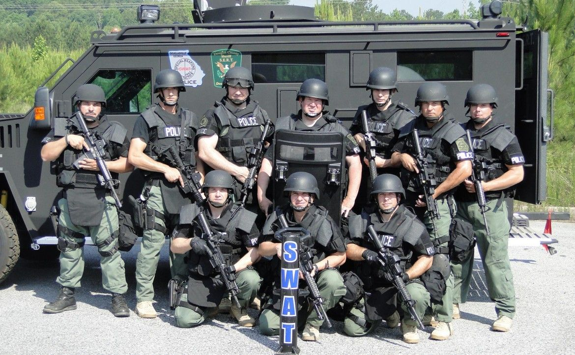 SWAT Team in Douglasville, GA with armored personnel carrier