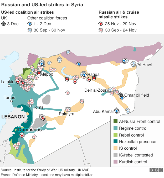 Syria Air Strikes as of 12-3-15 according to Western military sources via BBC