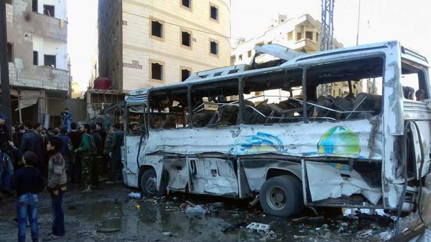 Terrorists bomb Syrian capital of Damascus Jan. 31, 2016 SANA photo via AP