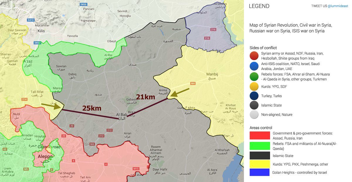 Syrian Battle map at Turkish border as of Aug. 30, 2016 (map via SouthFront.org)