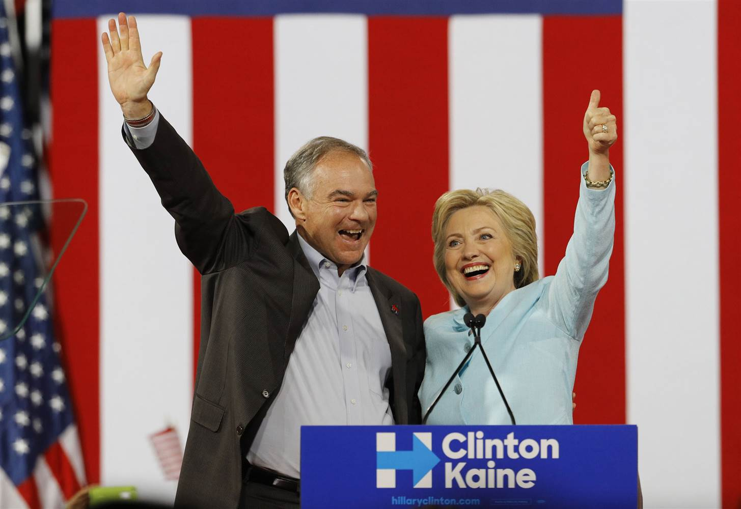 Hillary Clinton and Tim Kaine July 2016 at DNC