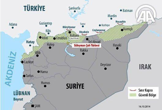 Turkey-Syria Border with buffer zone (Global Research map)