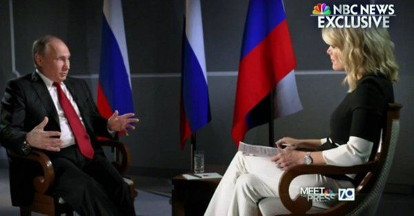 Russian President Vladirmir Putin is interviewed by Megyn Kelly in an NBC interview broadcast on June 4, 2017 (screenshot)