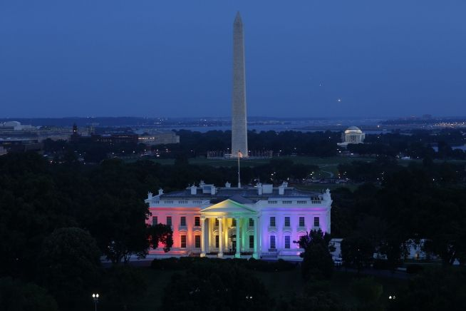 White House With Gay Rainbow Lighting June 2015 (White House Photo)