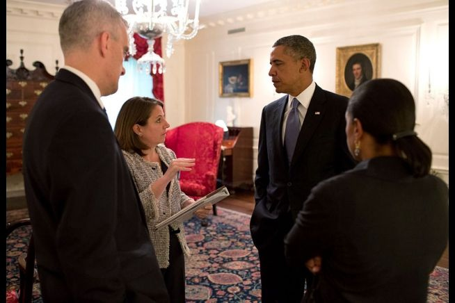 Barack Obama, Lisa Monaco, Denis McDonaugh, Susan Rice
