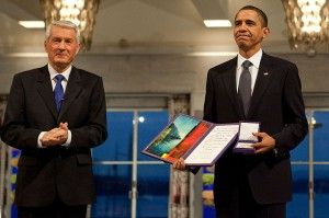 President Obama accepts Nobel Peace Prize from Com. Chair. Thorbjorn Jagland, Oslo, Norway, Dec. 10, 2009 (WH Photo)