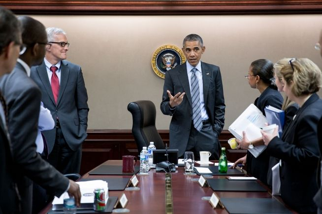President Barack Obama concludes a National Security Council meeting in the Situation Room of the White House in advance of his trip to Saudi Arabia, the United Kingdom and Germany, April 19, 2016 (White House photo)