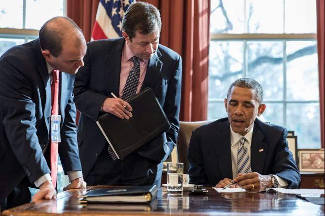 President Obama, Ben Rhodes, Terry Szuplat Feb. 18, 2015