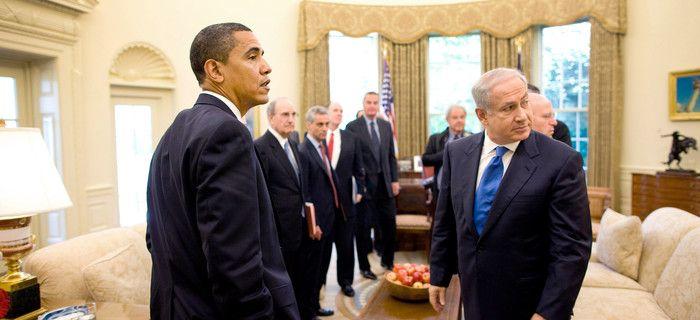 Barack Obama, Benjamin Netanyahu, George Mitchell, Rahm Emanuel at White House
