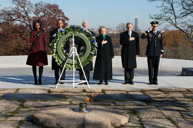 Barack and Michelle Obama, Bill and Hillary at JFK gravesite Nov. 20, 2013