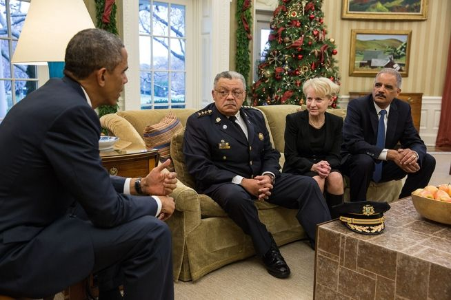Barack Obama and Attorney General Eric H. Holder, Jr. meet Charles Ramsey and Laurie Robinson Dec. 1, 2014