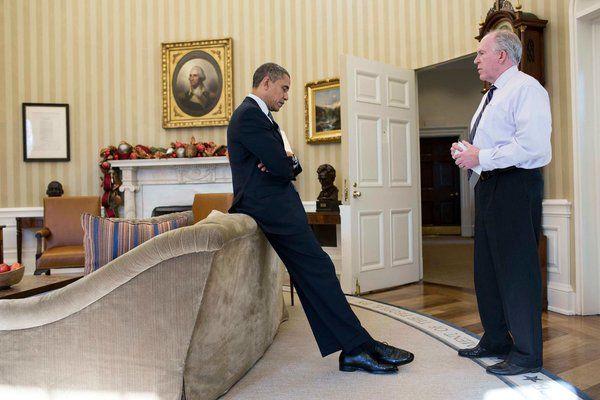 Barack Obama and John Brennan speak at White House in 2012 (White House photo)