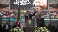 Barack Obama at Nelson Mandela Memorial in South Africa, Dec. 10, 2013
