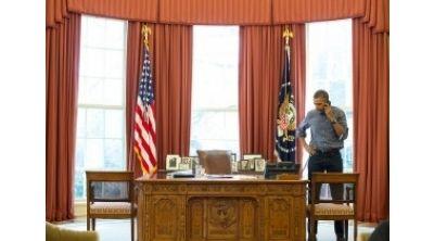 Barack Obama Speaks with Vladimir Putin March 1, 2014 (White House Photo)