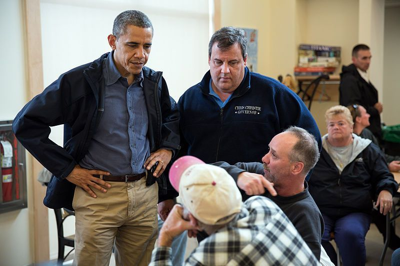 Chris Christie and Barack Obama via Wikimedia
