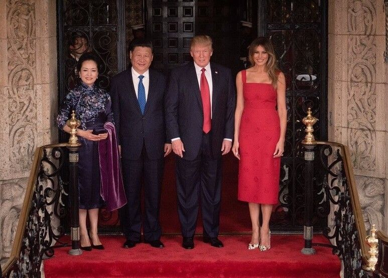 Donald and Melania Trump pose at Mar-a-Lago with China's premier and his wife in April, 2017