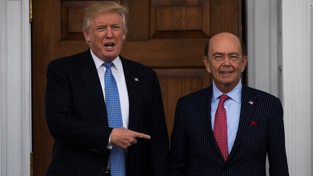 President Trump with Secretary of Commerce Wilbur Ross, a longtime Trump billionaire crony