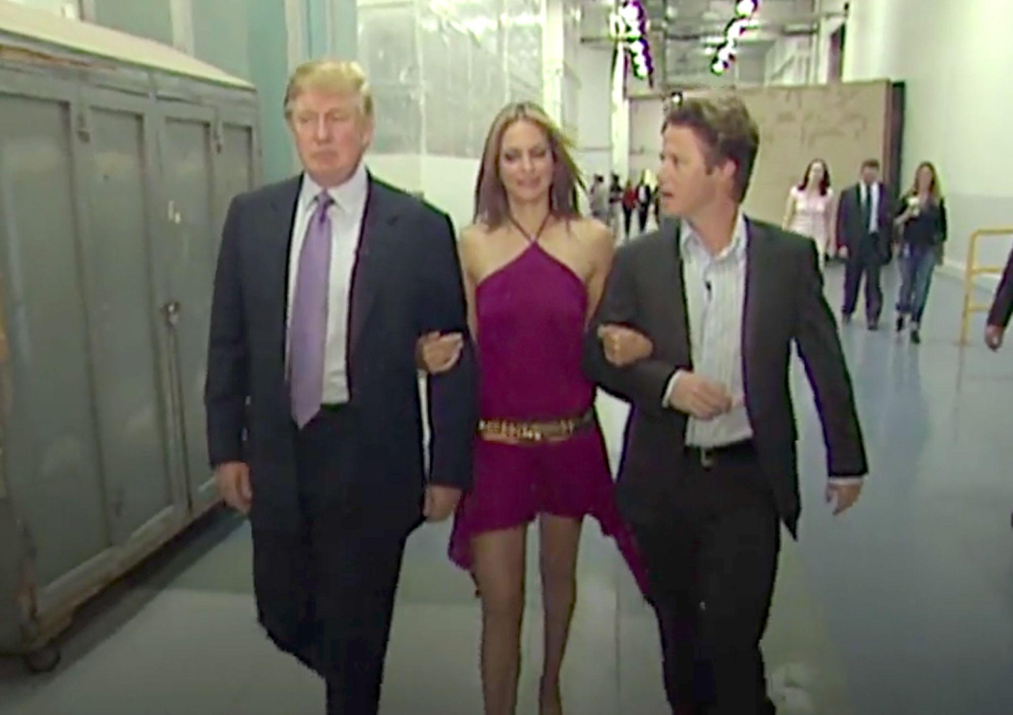 Donald Trump, Arianne Zucker, Billy Bush on Access Hollywood set 2005
