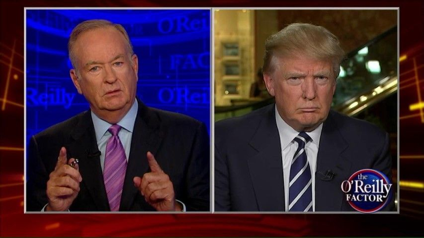 Fox News' anchor Bill O'Reilly interviewing President Donald Trump