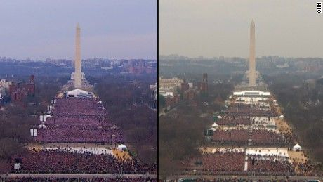 Donald Trump inauguration crowd size 2017 (right) compared to Barack Obama size 2013